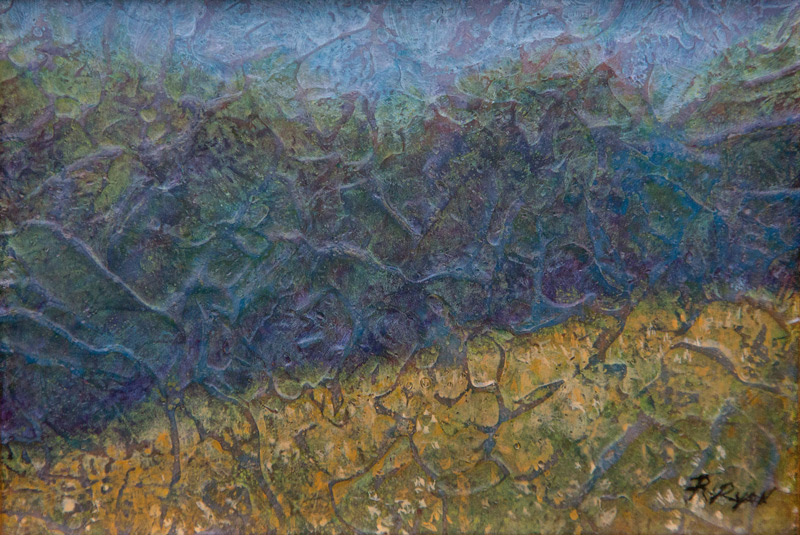 Acrylic layer painting of field and tree line