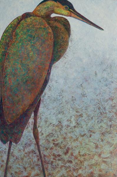 VA Artist Robyn Ryan Acrylic Layers Painting of Heron