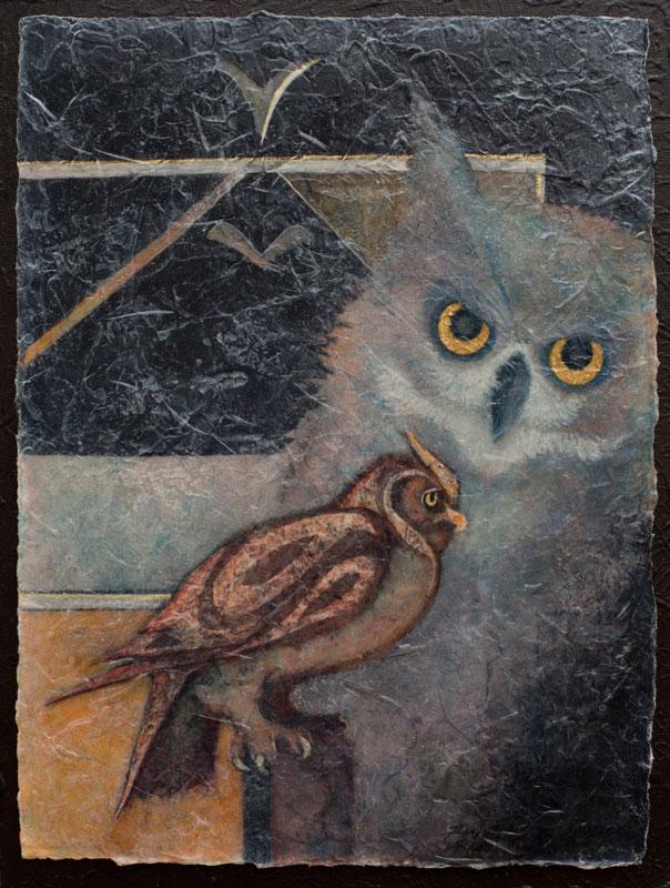 VA artist Robyn Ryan Acrylic Layers painting of Owl