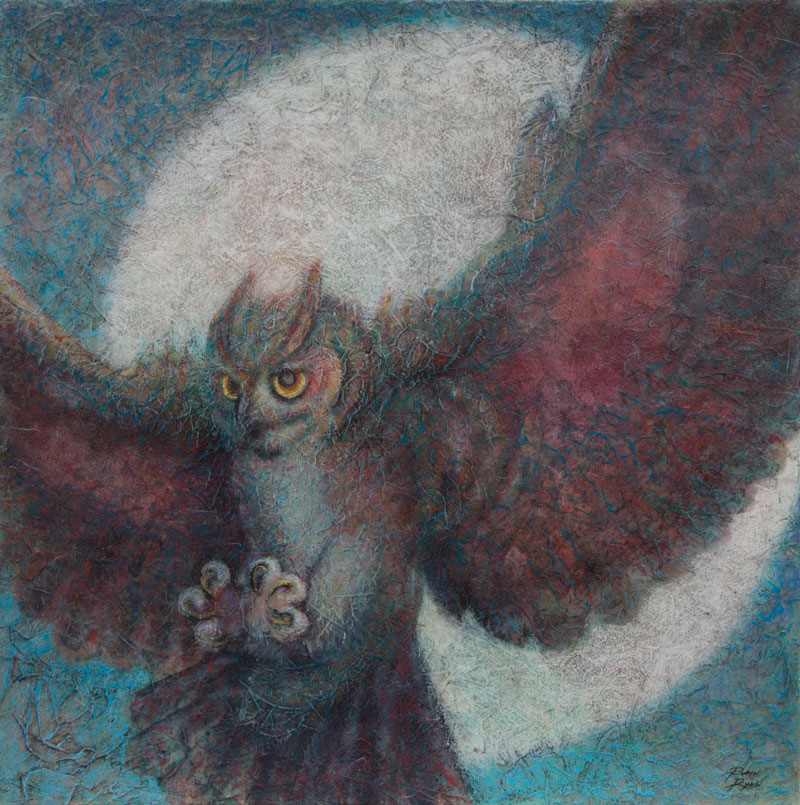 VA Artist Robyn Ryan Acrylic Layers Painting of Great Horned Owl in flight