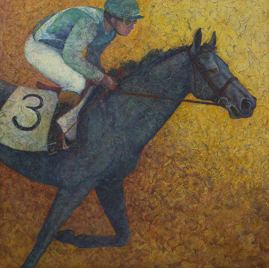 To the Finish - Acrylic Layer equine painting by VA artist Robyn Ryan