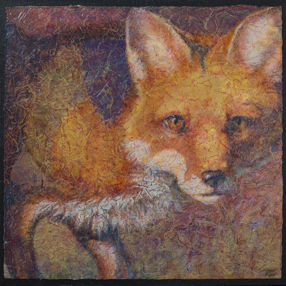Eye on You - Fox Acrylic Layers painting by VA Artist Robyn Ryan