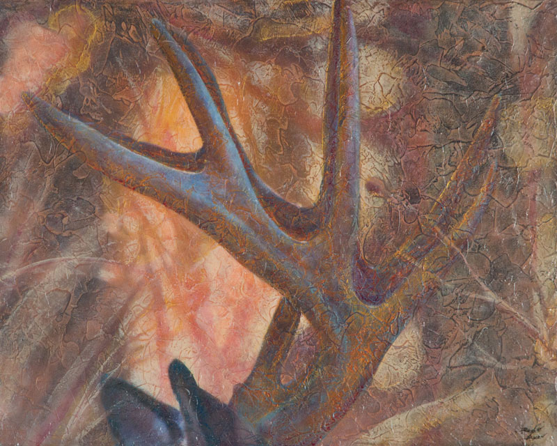 """Antlers"" Acrylic Layers Painting by VA Artist Robyn Ryan"