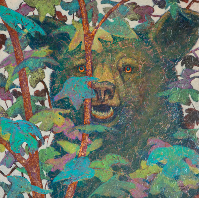 """Black Bear I"" Acrylic Layers Painting by VA Artist Robyn Ryan"