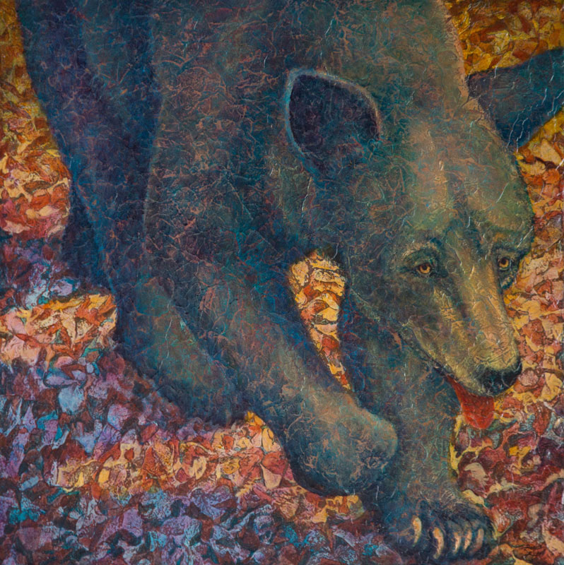 """Black Bear II"" Acrylic Layers Painting by VA Artist Robyn Ryan"