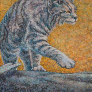"""Bobcat"" Acrylic Layers Painting by VA Artist Robyn Ryan"