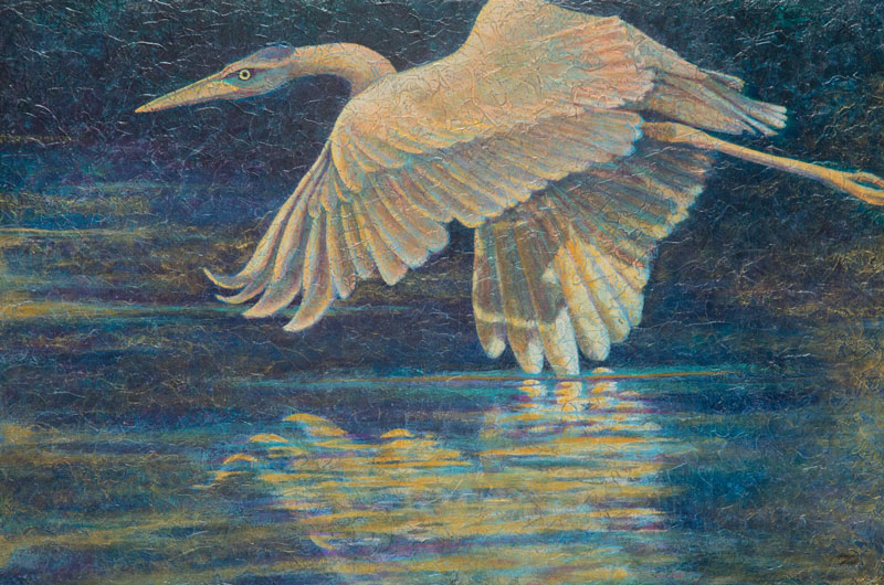"""Heron V"" Acrylic Layers Painting by VA Artist Robyn Ryan"