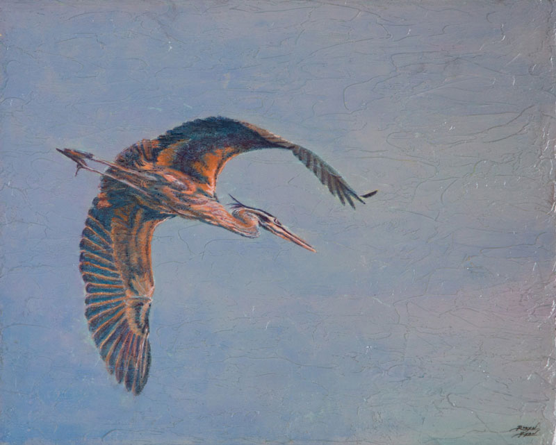"""Heron in Flight"" Acrylic Layers Painting by VA Artist Robyn Ryan"
