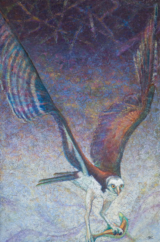 """Osprey III"" Acrylic Layers Painting by VA Artist Robyn Ryan"