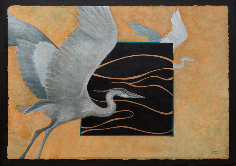 """Heron Haiku"" 18"" x 24"" Mixed Media Collage by Artist Robyn Ryan"