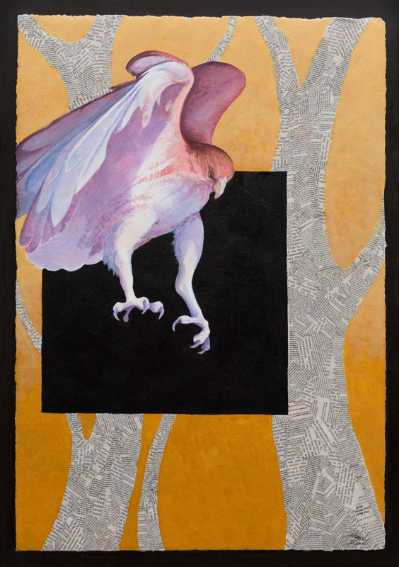 """Incoming III"" 24"" x 18"" Mixed Media Collage by Artist Robyn Ryan"