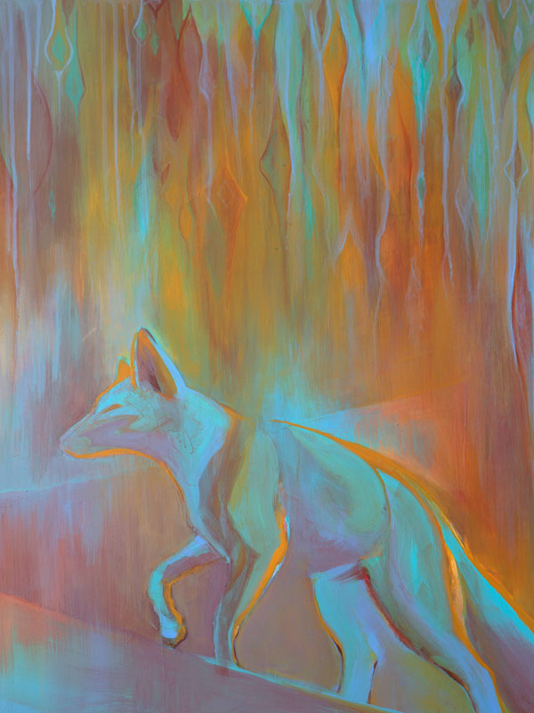 """Ghost Fox II"" 25"" x 19"" Acrylic on Yupo by Artist Robyn Ryan"