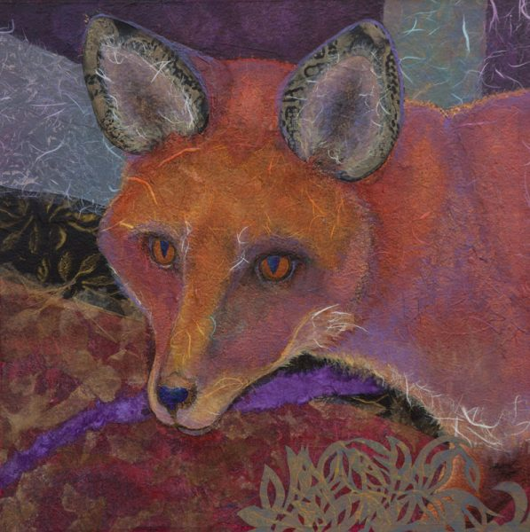 """Red Fox I"" 15"" x 15"" Collage by Artist Robyn Ryan"