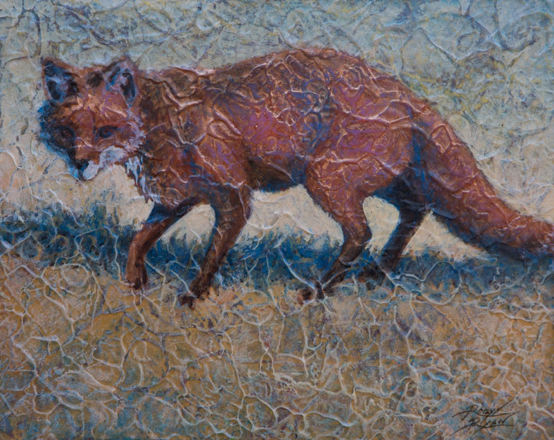 """Red Fox II"" 8"" x 10"" Acrylic Layers by Artist Robyn Ryan"