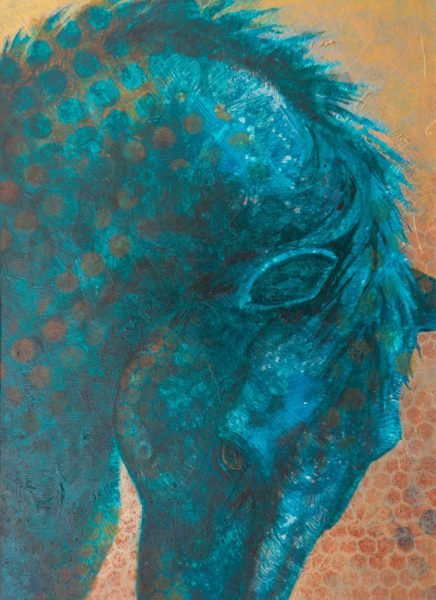 """Equine Muse - Blue Arch"" 12"" x 9"" Mixed Media by Artist Robyn"