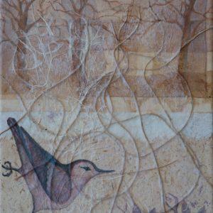 """""""Woodland Watcher I"""" 12"""" x 9"""" Mixed Media Collage by Artist Robyn"""