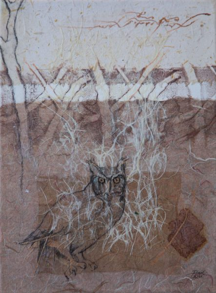 """Woodland Watcher I"" 12"" x 9"" Mixed Media Collage by Artist Robyn"
