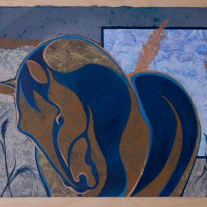 Mixed Media Collage of Horse and Grasses by Artist Robyn Ryan