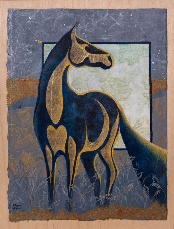Mixed Media Collage of standing horse by artist Robyn Ryan