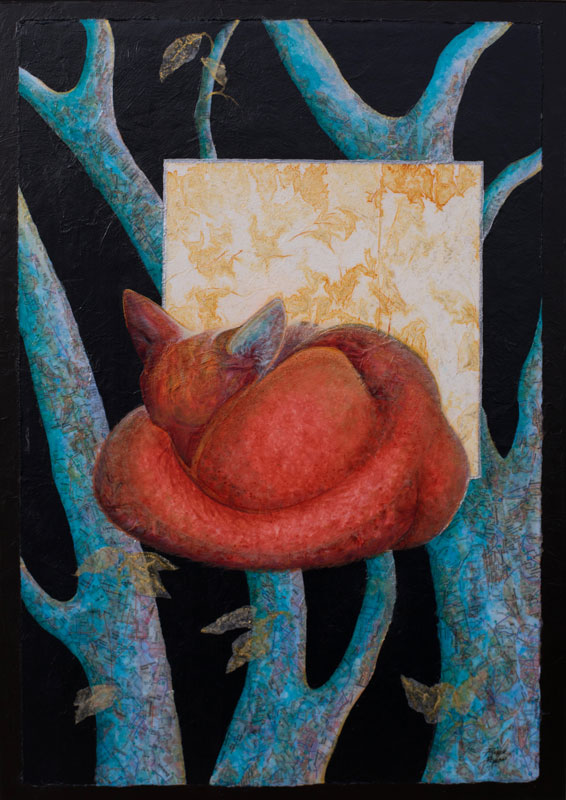 Mixed Media Collage Sleeping Red Fox by Artist Robyn Ryan