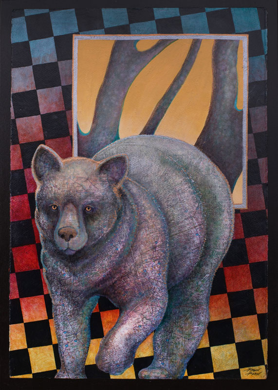 """The Three Bears ~ Mama Bear"" 22"" x 15"" Collage painting by Virginia Artist Robyn Ryan"