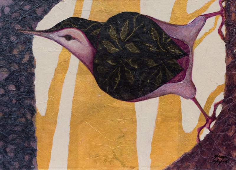 """Nuthatch Study I"" "" 8"" x 11"" Collage by VA Artist Robyn Ryan"