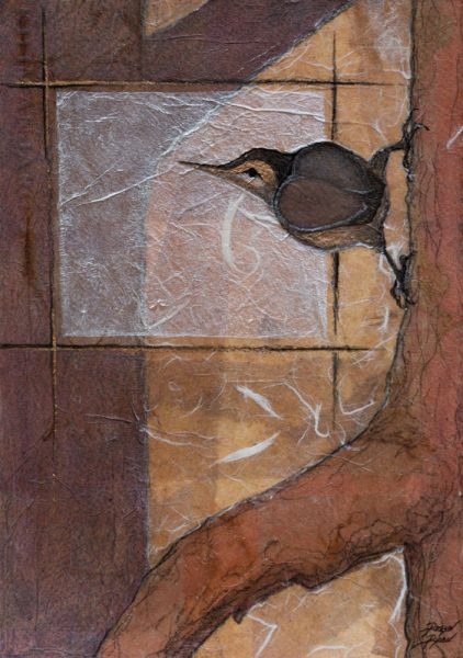 """Nuthatch Study II"" "" 11"" x 8""  Collage painting by Virginia Artist Robyn Ryan"