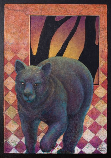 """Papa Bear"" 22"" x 15"" Collage painting by Virginia Artist Robyn Ryan"