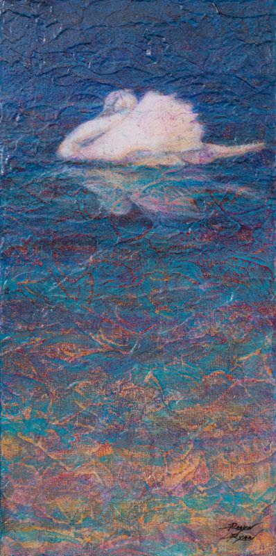 """Swan Lake V"" 12"" x 6"" Acrylic Layers Painting by Artist Robyn Ryan"