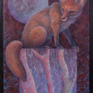 Mixed Media Collage Red Fox by Artist Robyn Ryan