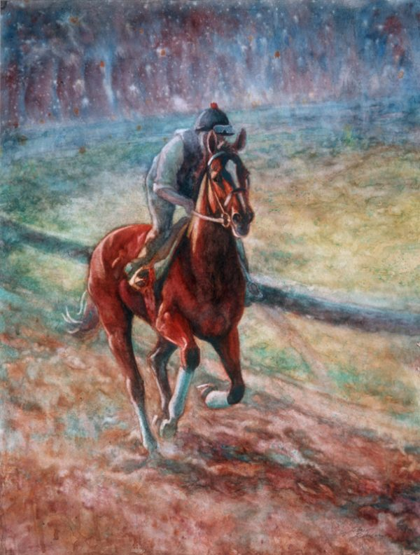 """Keeneland Breeze"" Watercolor 25"" x 19"" VA Artist Robyn Ryan"