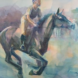 Robyn Ryan Eventing Cross Country Watercolor