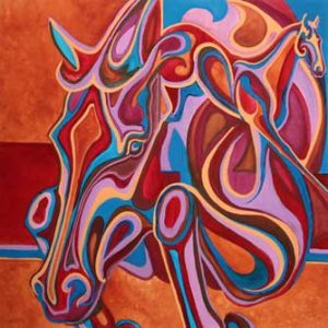 VA Artist Robyn Ryan's Equine Shapes In and Out XI watermedia painting