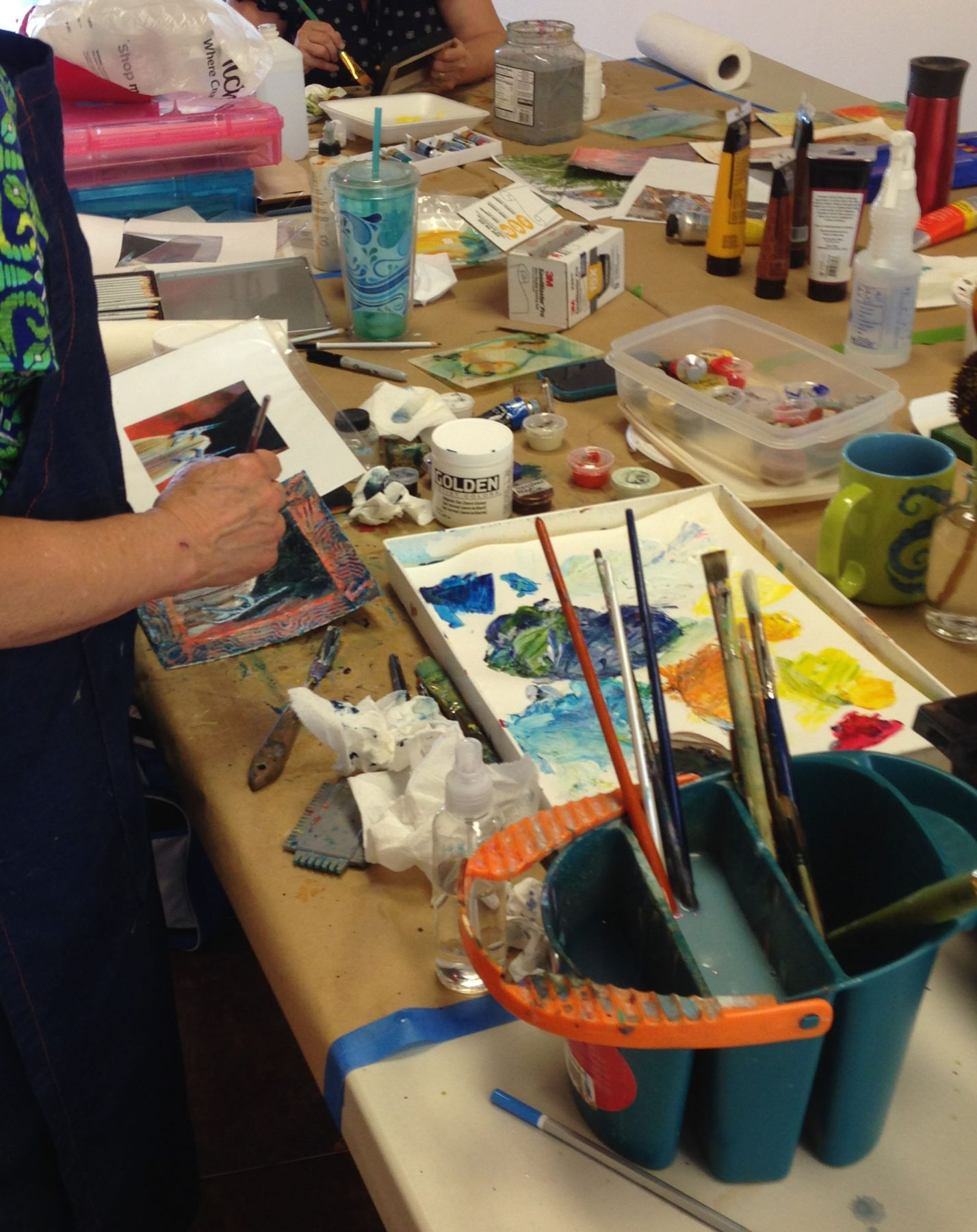 Acrylic Layers Workshop Students at Work